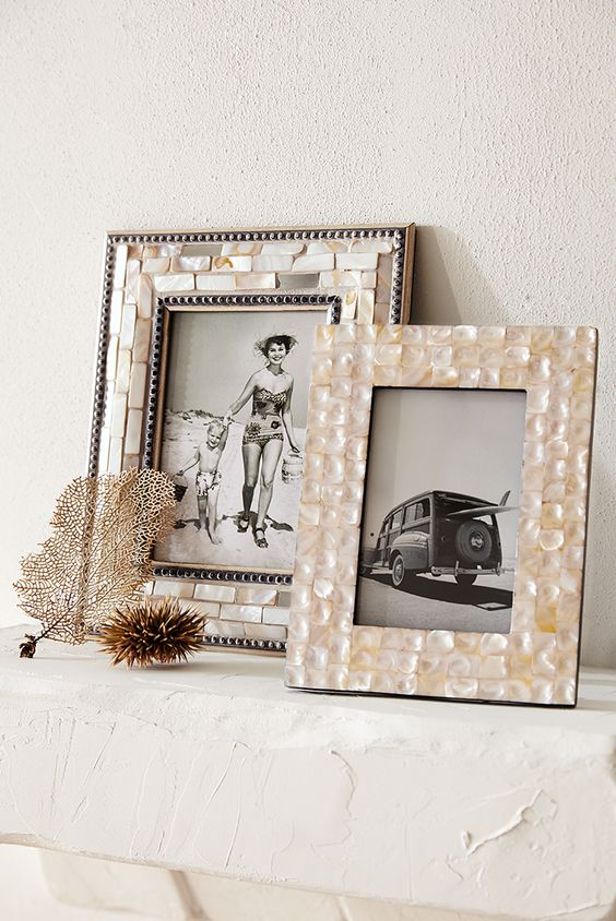 picture frames clad with mother oe pearl for a gorgeous refined look