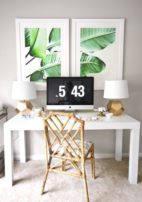 a banana leaf print wall art is an easy way to add a tropical feel to the space