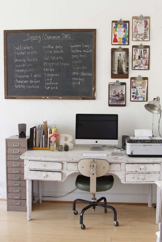 a large whitewashed vintage desk for a guy's working and studying space