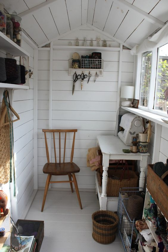 a tiny sewing room can be your hobby oasis - use your she shed the best way possible