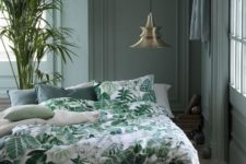 22 emerald, dark green and white bedding set with a botanical print and plain parts
