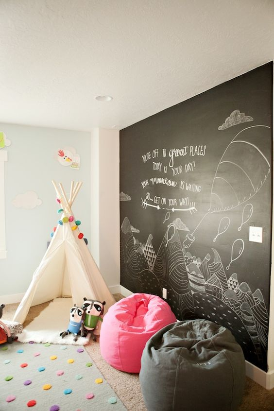 a chalkboard wall is the best way to encourage creativity and keep walls cool
