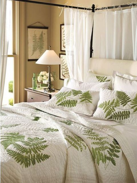 a fern leaf bedding set screams spring or summer, and textures inspire