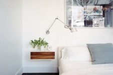 25 a modern tiny floating nightstand with a stained wood drawer for a chic look