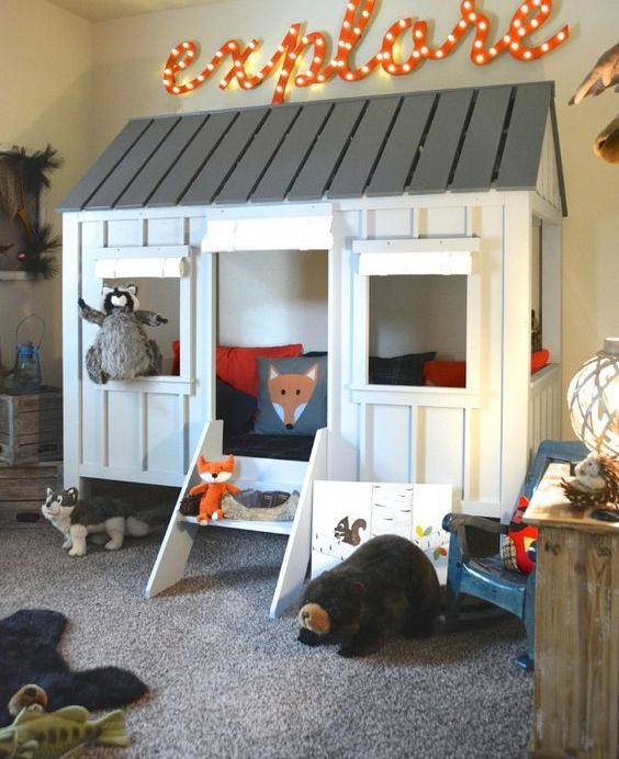 a tree house in a playroom is always a win-win idea, which also helps to divide zones