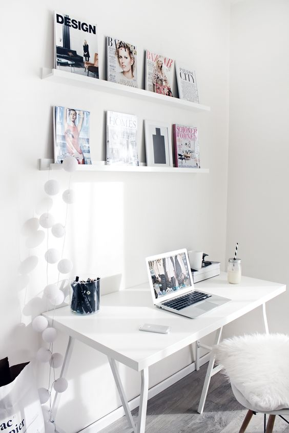 ledges to display your favorite pics or magazines, it can be an easy wall art alternative