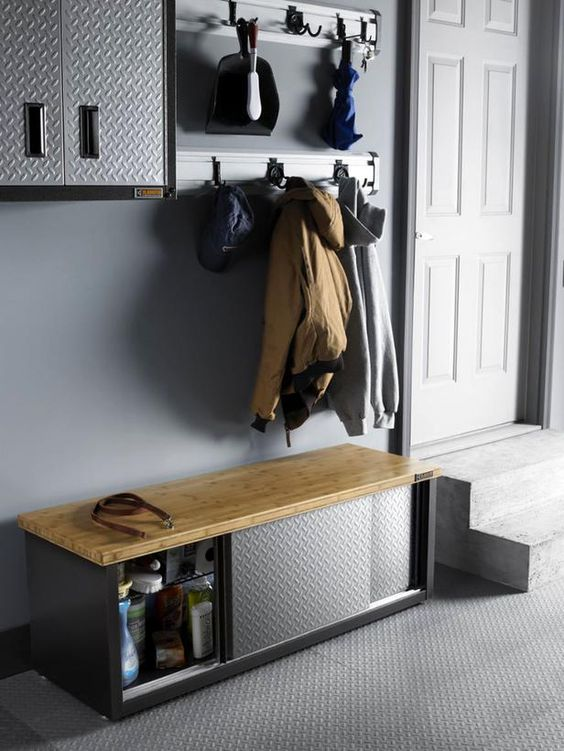 put a storage bench in your entryway and save a lot of space