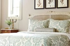 26 muted green botanical print bedding set for a vintage-styled bedroom
