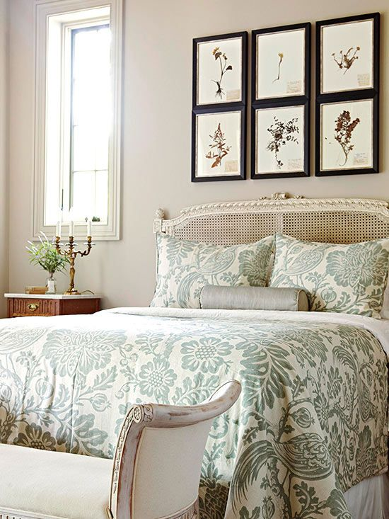 muted green botanical print bedding set for a vintage-styled bedroom