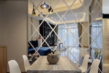 27 a wall decal is made from acrylic mirrors is lighter than usual mirrors, you can arrange it anywhere in the room
