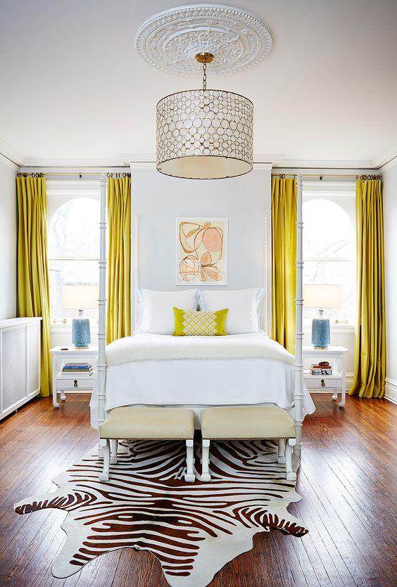 accentuate your bedroom with sunny yellow velvet curtains and a pillow - not expensive and cool
