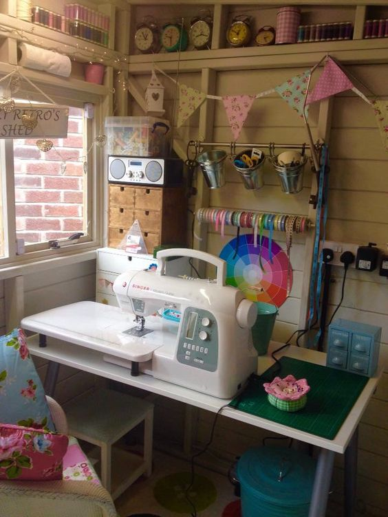 sewing room she shed will let you enjoy sewing anytime