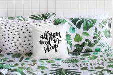 28 bold green leaf printed bedding for a modern summer bedroom
