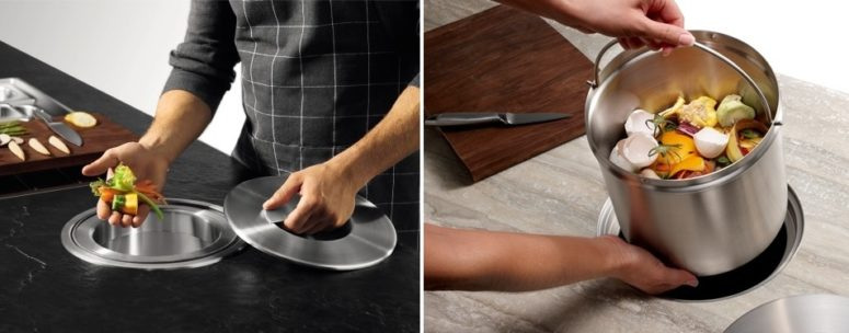 put the trash inside your kitchen island and then take it out when you can