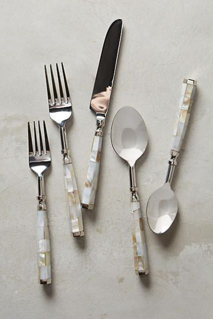 cutlery incrusted with mother of pearl for an exquisite look