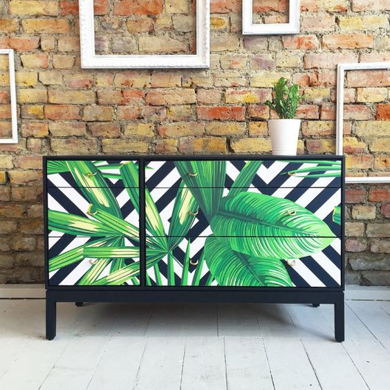upcycled vintage retro chest of drawers with tropical palms decoupage