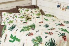 29 whimsy and funny cactus print bedding in green and pink hues