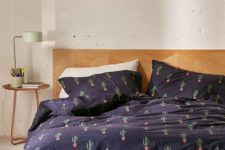 30 navy bedding set with a cactus print for a desert-inspired space