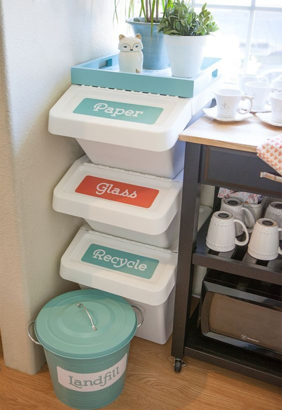 such cute separate trash boxes needn't hiding, they look cute anyway