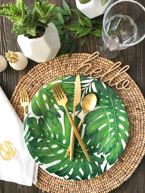tropical leaf printed dishes for a summer party