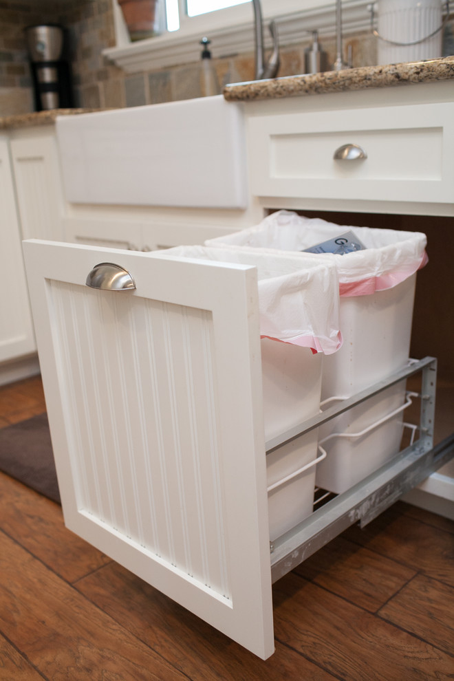 country style kitchen would only win if you manage to hide trash cans (Millen's Woodworking)