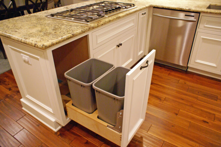 a soft-close trash can pull-out with a possibility to separate food compost from trash (Danzo Group Custom Cabinets & Woodworking)