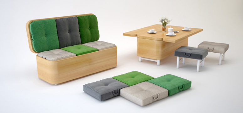 Convertible furniture by Julia Kononenko (via www.designboom.com)