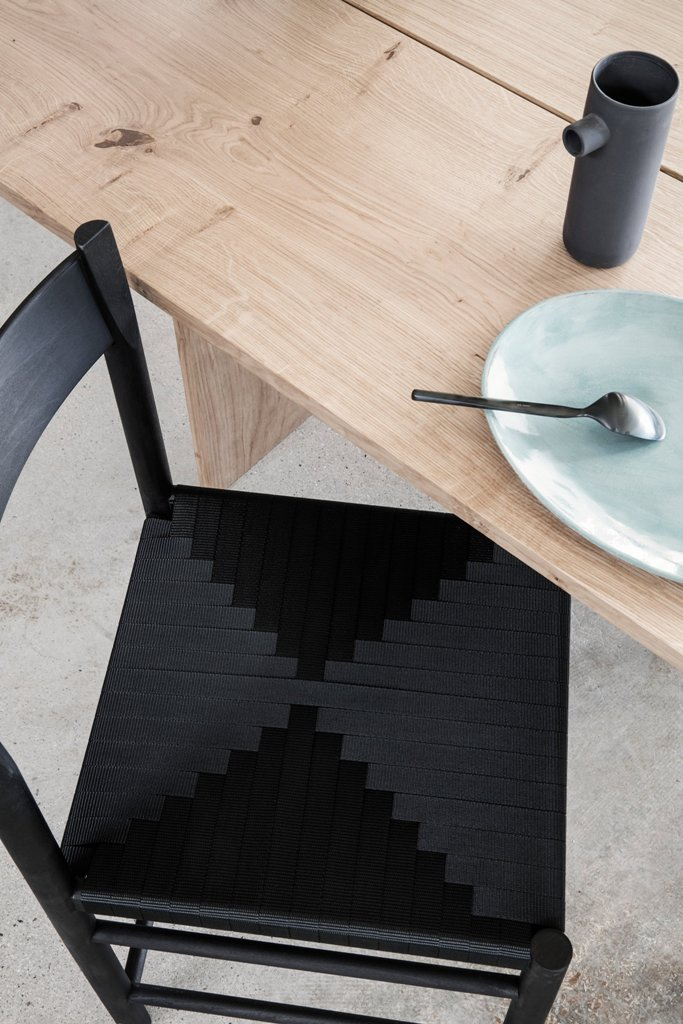 Minimalist F Chair With A Woven Ribbon Seat