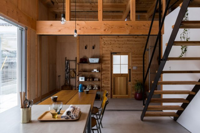 Ishibe House was inspired by warehouses, it's a stylish mix of modern and industrial styles