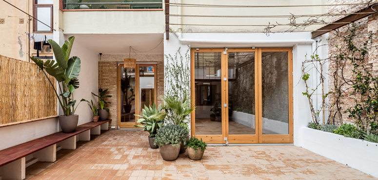 This home was renovated to create a modern space, the existing tiles and bricks were repurposed in different rooms and patios