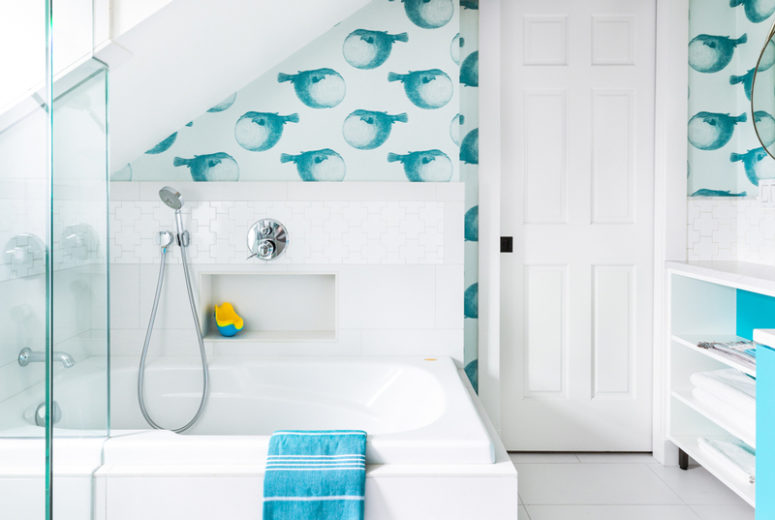 outstanding kids bathroom color | Whimsical Turquoise And White Kids' Bathroom - DigsDigs