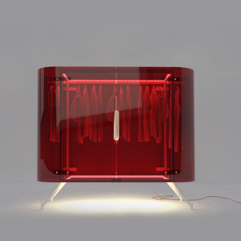 Daytime model is made of red acrylic, it can be illuminated at night with a spotlight