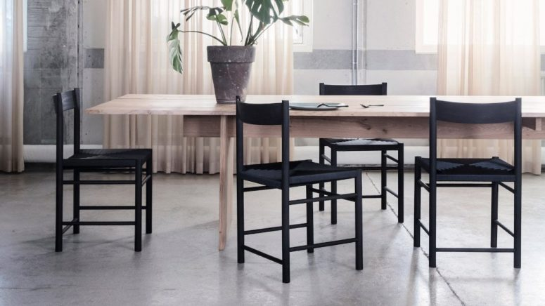 The design is minimalist and eye-catchiness is achieved with a woven seat and multiple crossbars