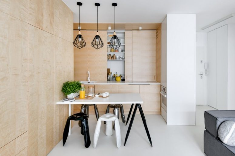 The kitchen is cla with wood panels like the most of the space, panels look sleek and modern