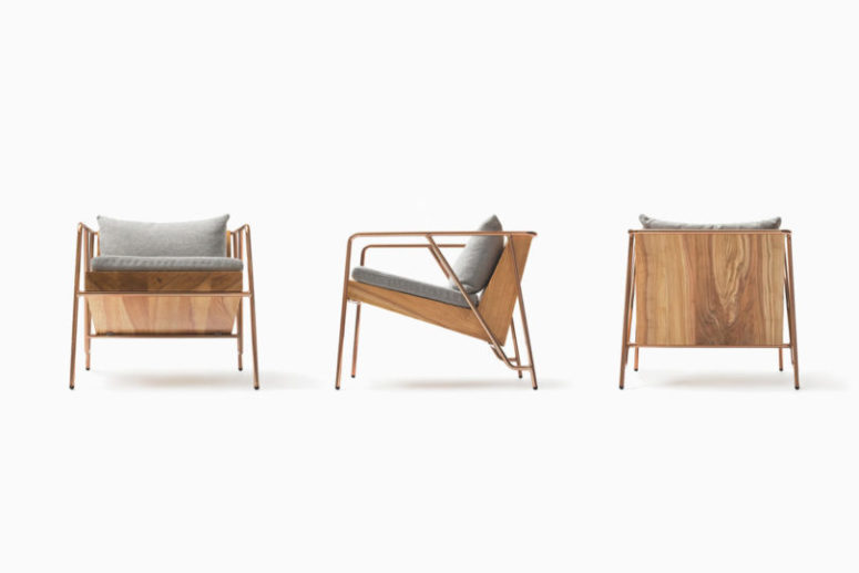 This is MASS lounge chair of copper and Oguni wood, it looks very comfy and inviting
