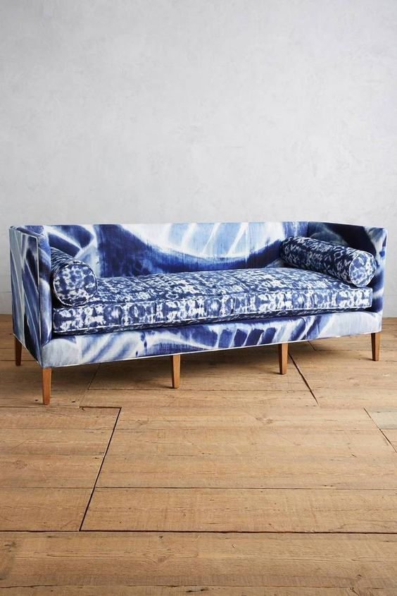 a large shibori upholstered sofa looks very interesting and will perfectly fit a modern boho home
