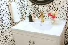 02 dalmatian print wallpaper to make a powder room more eye-catching and glam