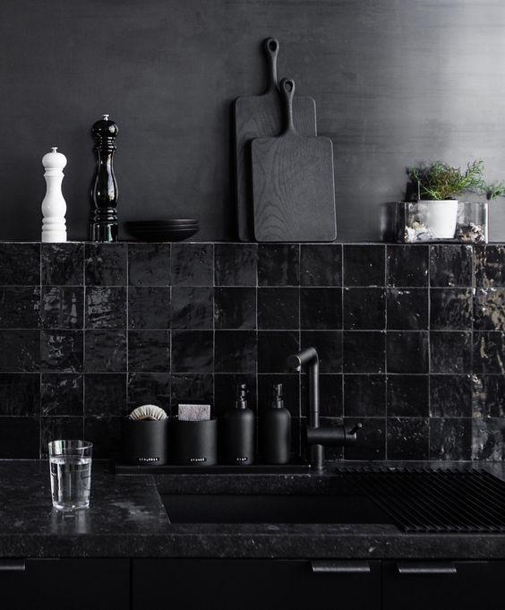 Stone And Wood Make A Dark Masculine Interior: 30 Timeless And Chic Glossy Tile Decor Ideas