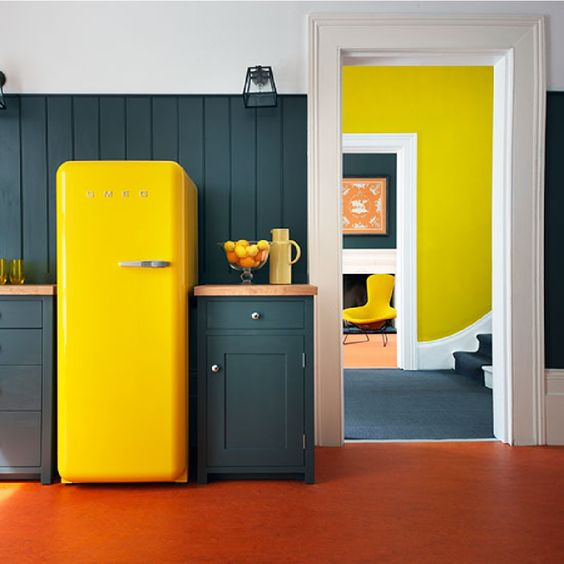 a graphite grey kitchen with a sunny yellow Smeg fridge for a bold statement