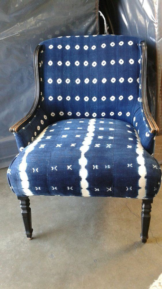 a vintage chair can be made trendy and chic with shibori upholstery