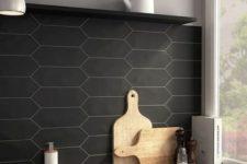 03 matte black tile kitchen backsplash and concrete countertops for a chic masculine kitchen