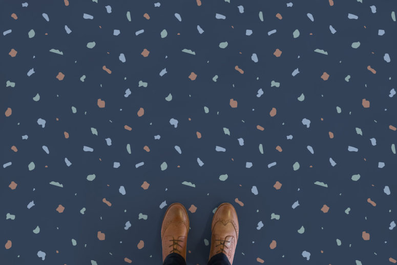 Fleck floors in blue have a navy base, which can fit a coastal or beach home