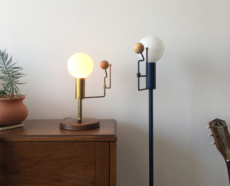 The light design is available in machined brass or a black coated finish