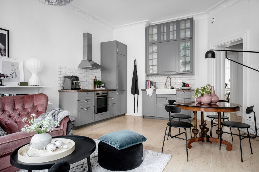 The traditional Scandi colors are spruced up with muted pink and blue shades