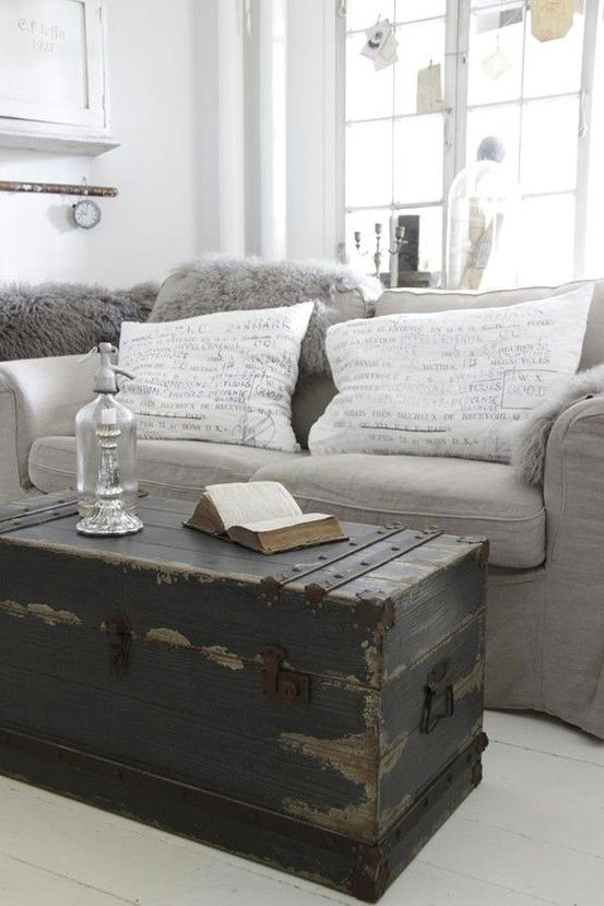 White Coffee Table Living Room Farmhouse