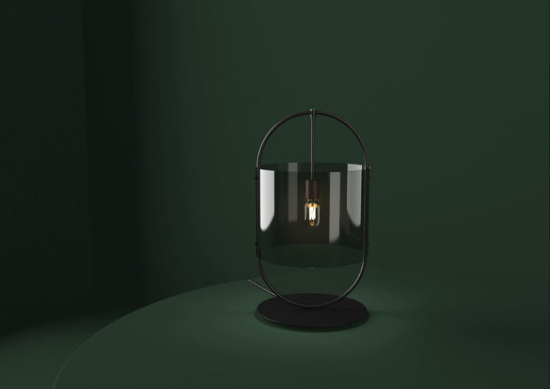 The glass version has no metal mesh, it's substituted with a smoked glass lampshade