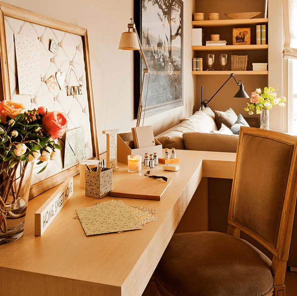 Cozy Neutral Living-Dining Room With A Home Office