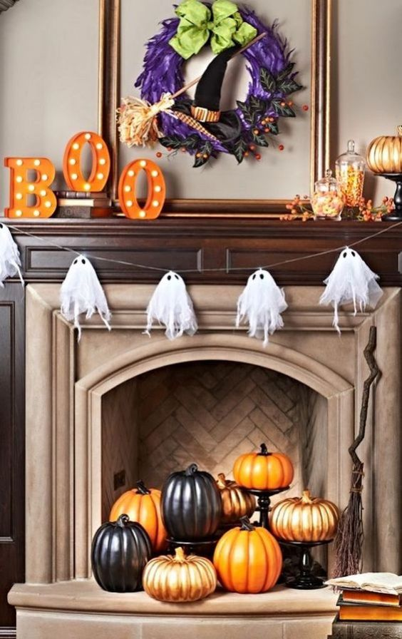 pumpkins in a fireplace