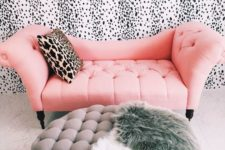 05 a glam girlish space with a dalmatian print wall, it looks cool and chic