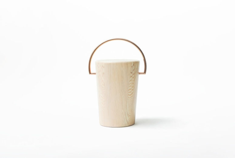 Such a stool with a handle is easy to carry with you around the house